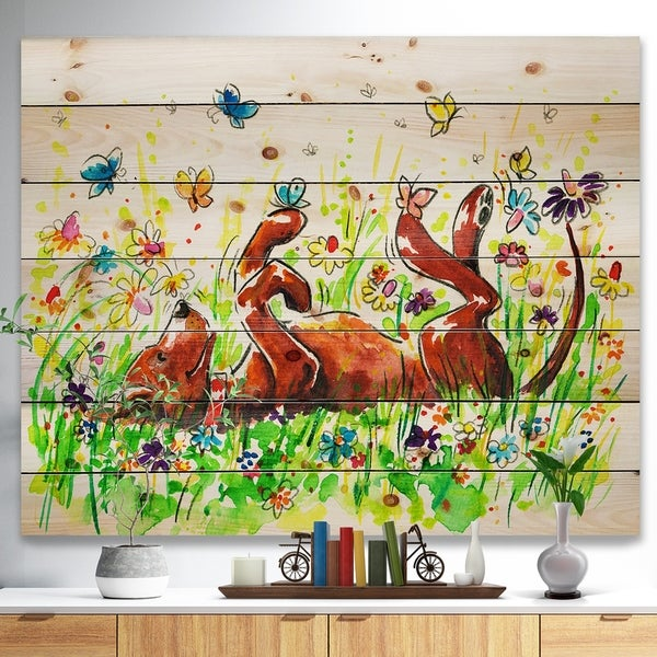 Designart 'Happy Brown dog with Flowers and Butterfly' Animals Painting Print on Natural Pine Wood - Green