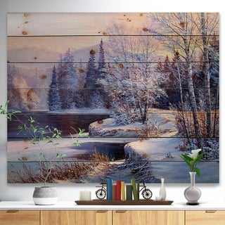 'Christmas Forest' Digital Print on Natural Pine Wood - White