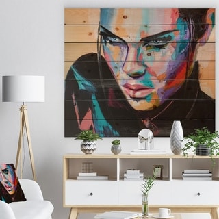 Designart 'Woman Portrait Games are over' Glamour Painting Print on Natural Pine Wood - Multi-color
