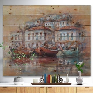 Designart 'Calm Sea with boats in Harbor' Sea & Shore Painting Print on Natural Pine Wood - Blue