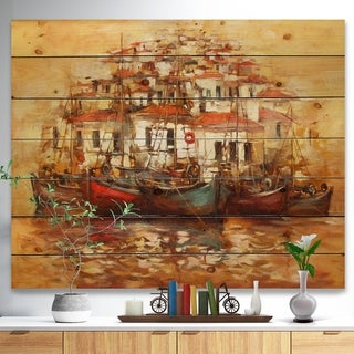 Designart 'Boats on the island harbor Oil Painting' Sea & Shore Painting Print on Natural Pine Wood - Brown