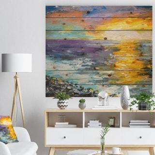 Designart 'Sunset on the Coast' Sea & Shore Painting Print on Natural Pine Wood - Blue
