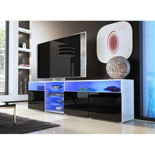 """Roma 79"""" TV Stand Matte Body High Gloss Doors with 16 Color LEDs"""