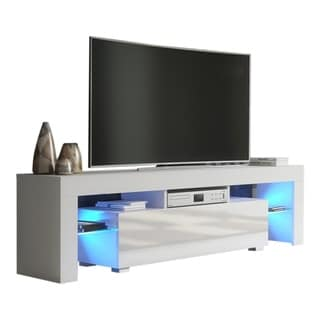 "Milano 160 Modern 63"" TV Stand Matte Body High Gloss Fronts with 16 Color LEDs - 19.1""h x 63""w x 13.8""d"