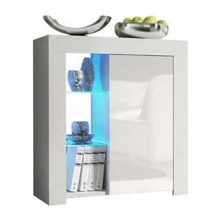 """Milano 30"""" Sideboard 1D2S Matte Body High Gloss Doors with 16 Color LEDs"""