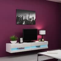 """Vigo 180 Wall Mounted Floating 71"""" TV Stand with 16 Color LEDs"""