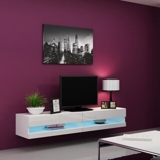 "Vigo 180 Wall Mounted Floating 71"" TV Stand with 16 Color LEDs"