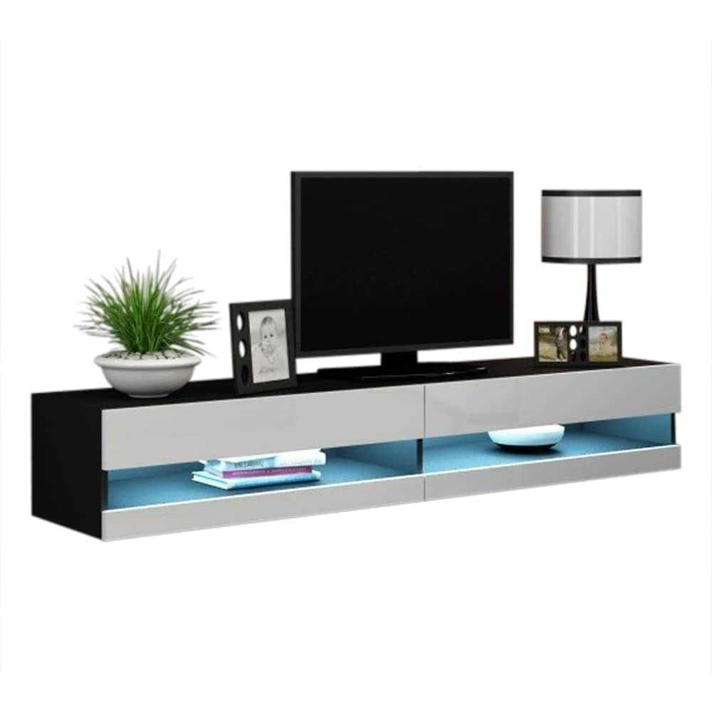 Vigo 180 Wall Mounted Floating 71 Tv Stand With 16 Color Leds