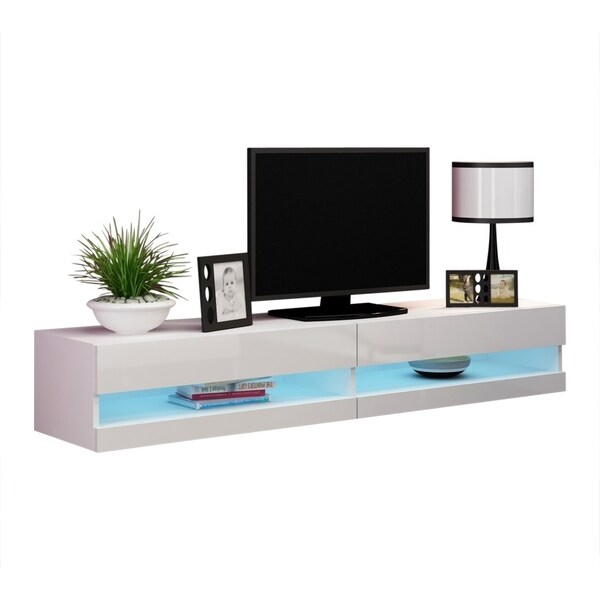 Shop Vigo 180 Wall Mounted Floating 71 Tv Stand With 16 Color Leds