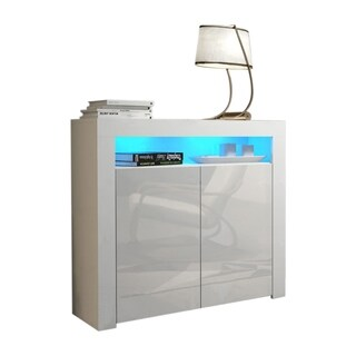 """Milano 42"""" Sideboard 2D Matte Body Two High Gloss Doors with 16 Color LEDs"""