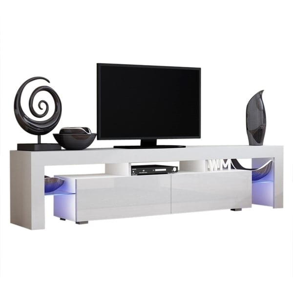 Milano Tv Meubel.Shop Milano 200 Modern 79 Tv Stand With 16 Color Leds On Sale
