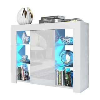 """Milano 38"""" Sideboard Matte Body High Gloss Doors with 16 Color LEDs"""