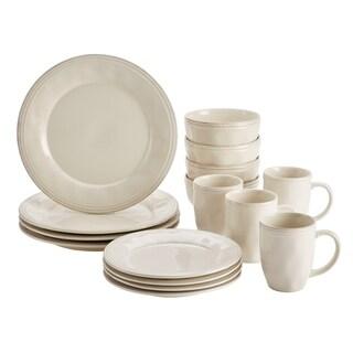 Rachael Ray Cucina Dinnerware 16-Piece Dinnerware Set, Ricotta White