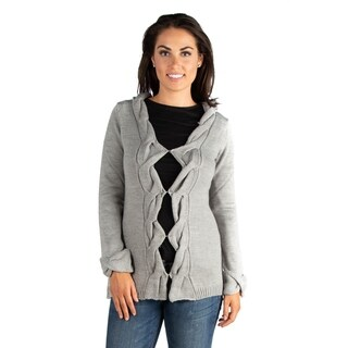 24/7 Comfort Apparel Diamond Cutout Grey Cardigan Sweater