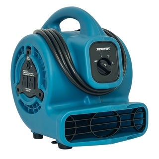 XPOWER P-80A Multi-Purpose 600 CFM Mini Mighty Air Mover, Utility Fan, Dryer, Blower with Build-in Power Outlets