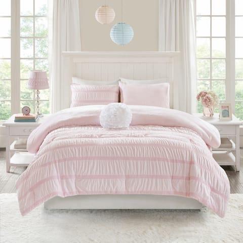 Mi Zone Diana Reversible Ruched Seersucker to Plush Comforter Set 2-Color Option