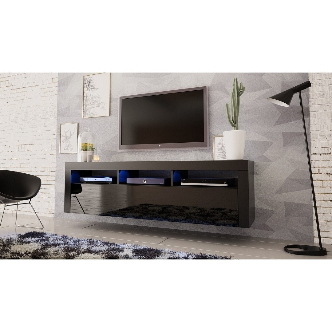 Milano Clic Wall Mounted Floating 63 Tv Stand With 16 Color Leds