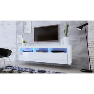 """Milano Classic Wall Mounted Floating 63"""" TV Stand with 16 Color LEDs"""