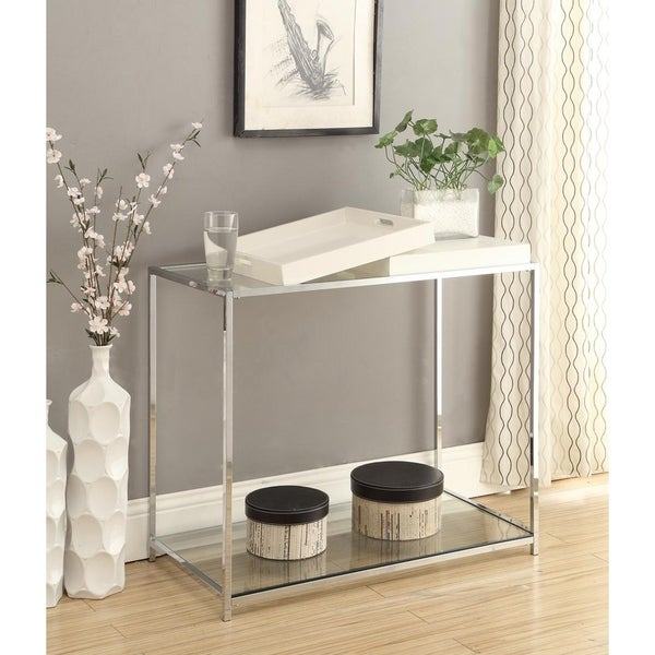 Silver Orchid Makay Chrome-finish Tempered Console Table with Removable Trays