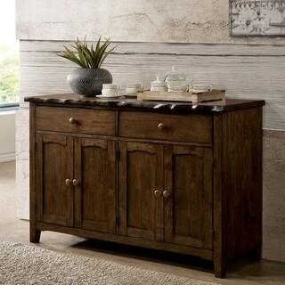 Furniture of America Trenton Rustic Walnut 2-drawer Server