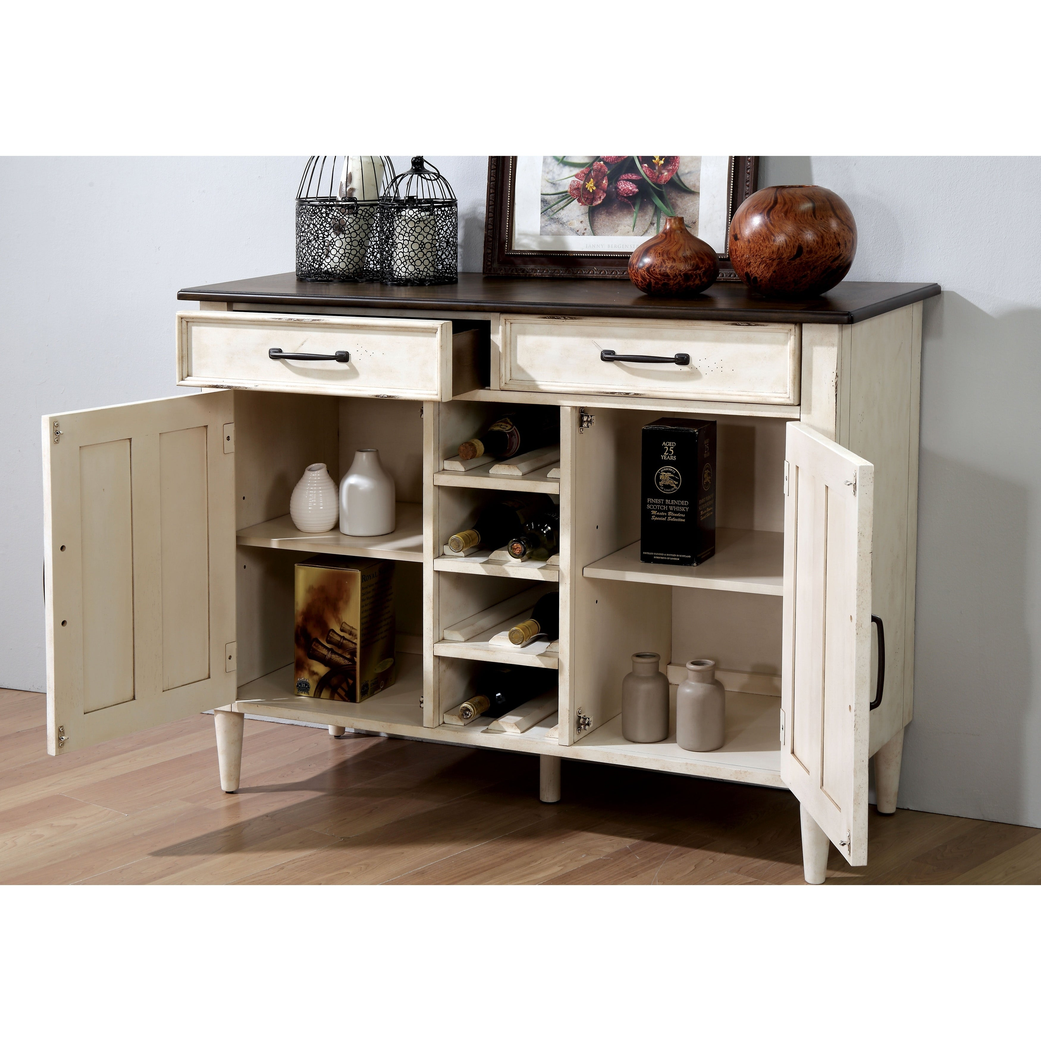 The Gray Barn Riverbone Rustic Antique White Buffet With Wine Rack