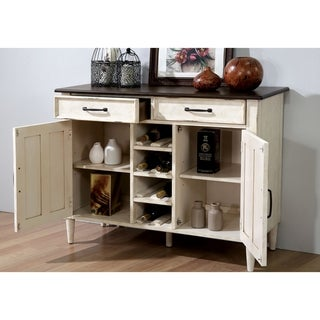 Furniture of America Darion Rustic Antique White Buffet with Wine Rack