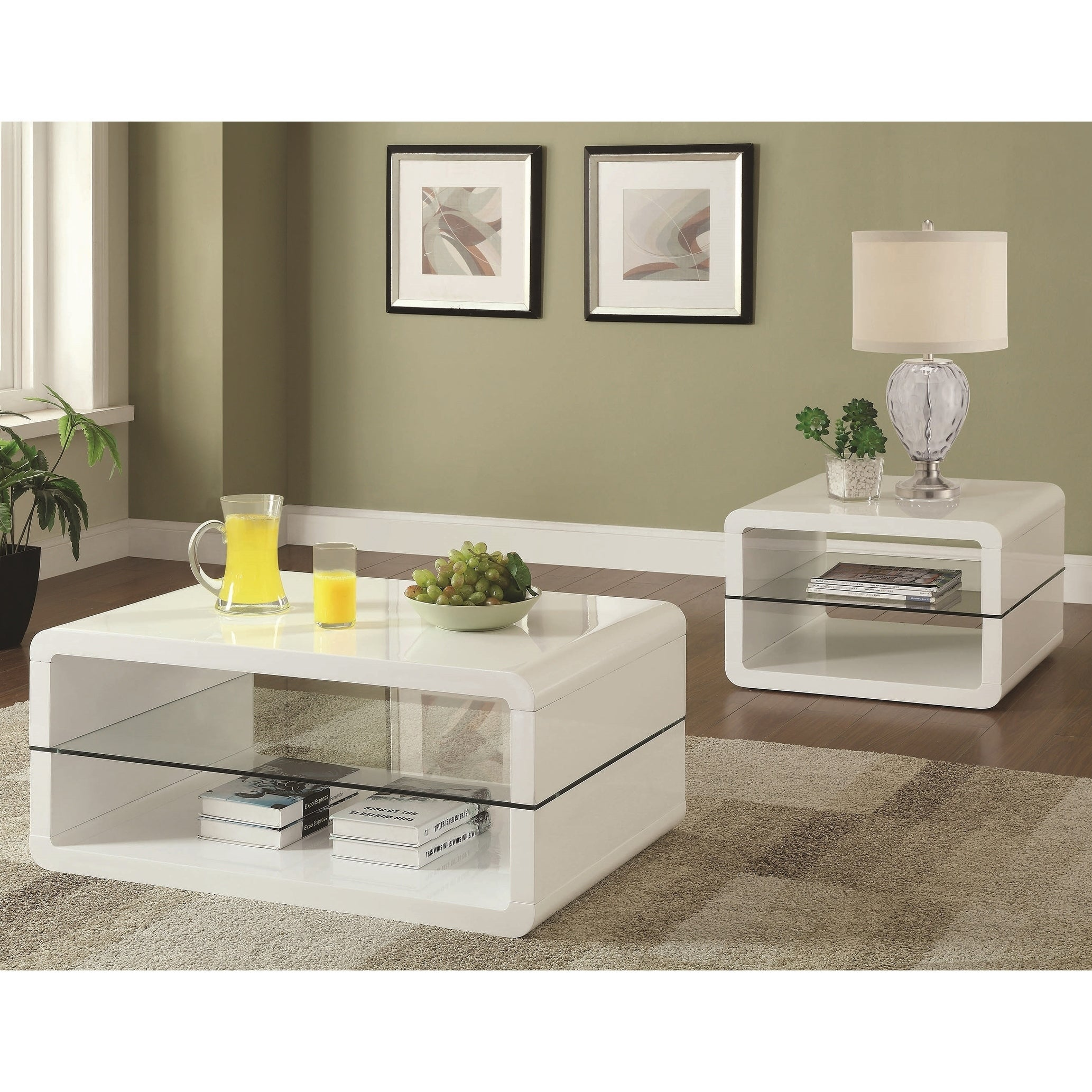 Modern Cube Design Living Room Accent Table Collection with Glass Shelf