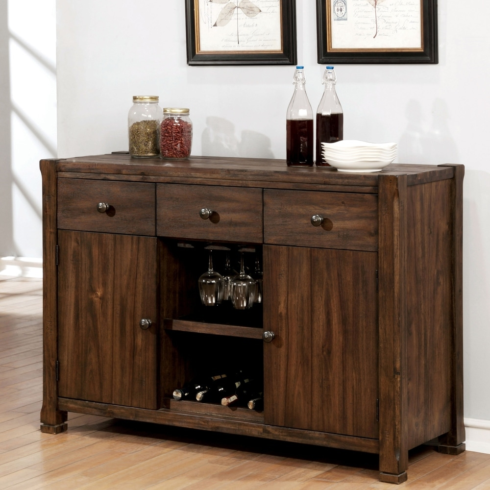 Furniture of America  Marquez Rustic Walnut 3-drawer Buffet (Walnut)