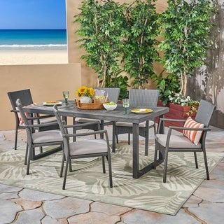 Garner Outdoor 6-Seater Acacia Wood Dining Set with Wicker Chairs by Christopher Knight Home