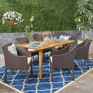 Sylvan Outdoor 7 Piece Acacia Wood Dining Set with Wicker Chairs by Christopher Knight Home