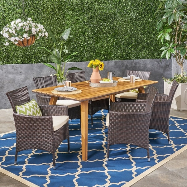 Crescent Outdoor 7 Piece Acacia Wood Dining Set with Wicker Chairs by Christopher Knight Home