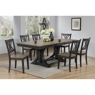 """Iconic Furniture Co 42""""x64""""x82"""" Double Pedestal Deco Antiqued Grey Stone Black Stone Double X-Back 7-Piece Dining Set"""