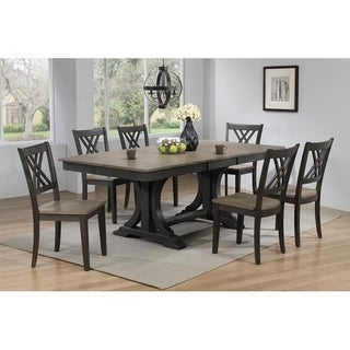 "Iconic Furniture Co 42""x64""x82"" Double Pedestal Deco Antiqued Grey Stone Black Stone Double X-Back 7-Piece Dining Set"