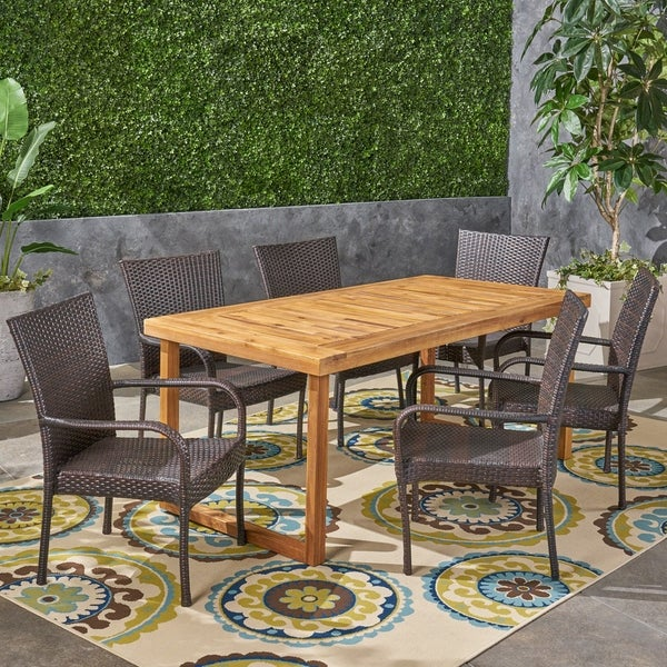 Mayhill Outdoor 7 Piece Acacia Wood Dining Set with Stacking Wicker Chairs by Christopher Knight Home