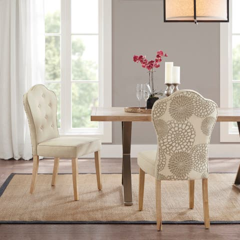 """Madison Park Esther Beige Multi Dining Chair (set of 2) - 19.5""""w x 23.5""""d x 39.5""""h"""