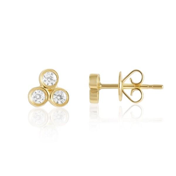 14kt Gold 3 Stone Diamond Stud Earrings