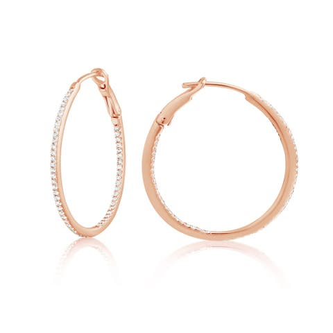 14K Gold and Diamond Round Hoops Fashion Earring