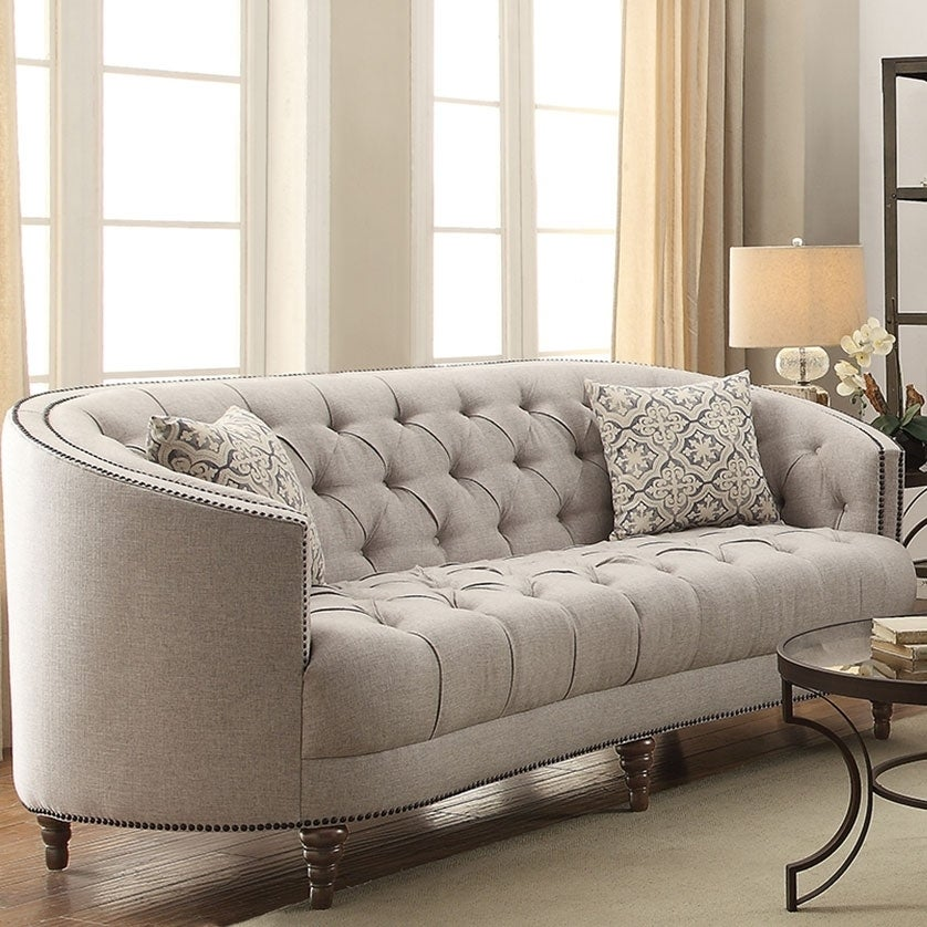 Contemporary Linen Like Fabric & Wood Sofa With Tufted Design, Gray