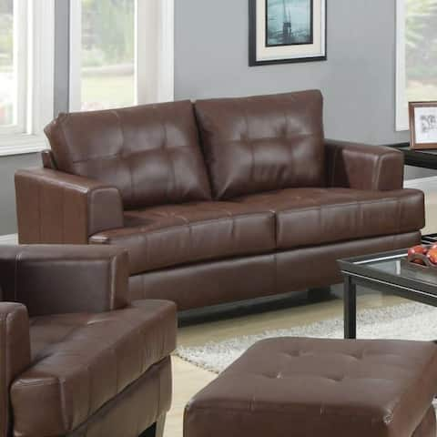 Contemporary Wood & Leatherette Loveseat with Cushioned Seating, Brown