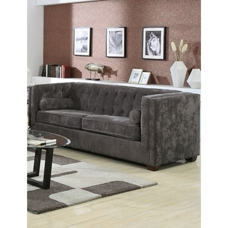 Transitional Chenille Fabric & Wood Sofa With Lumbar Pillows, Gray