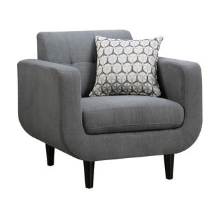 Transitional Fabric & Wood Chair With Curved Profile, Gray