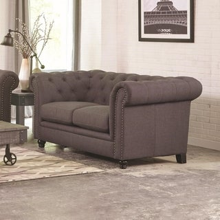 Transitional Linen like Fabric & Wood Loveseat With Rolled Arms, Gray