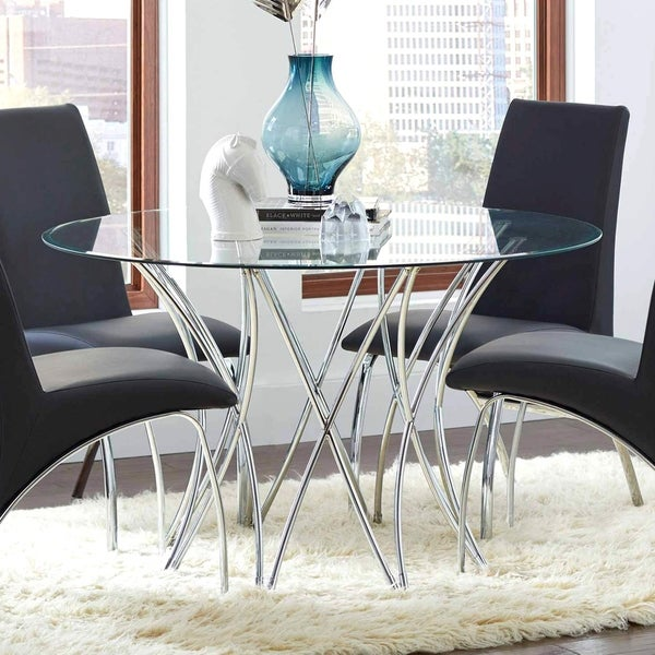 Amazing Shop Modern Artistic Design Round Dining Table With Tempered Home Remodeling Inspirations Genioncuboardxyz