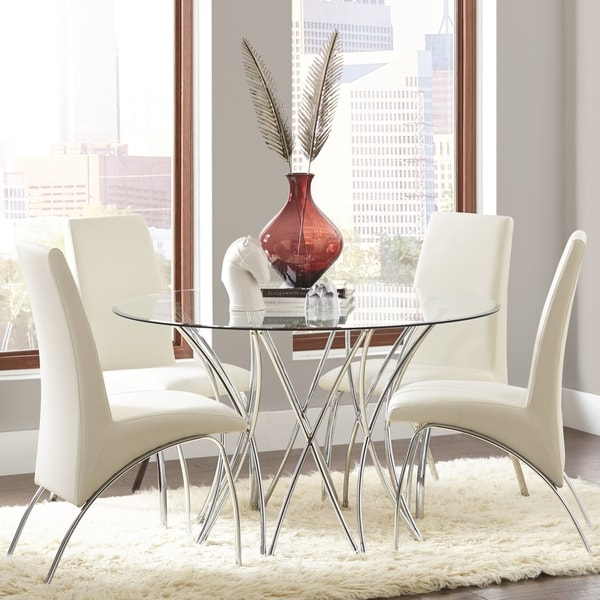 Mauna Tempered Glass Top Round Dining Table Set: Shop Modern Artistic Design 5-piece Round Dining Set With
