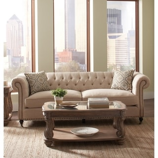 Contemporary Fabric & Wood Sofa With Accent Pillows, Beige and Brown