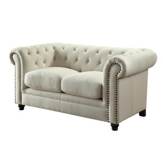 Transitional Wood & Linen Loveseat With Button Tufting, Oatmeal