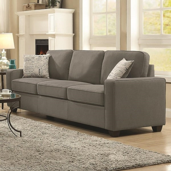 Shop Contemporary Fabric & Wood Sofa With Cushioned Seat & Back ...