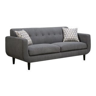 Transitional Fabric & Wood Sofa With Curved Profile, Gray