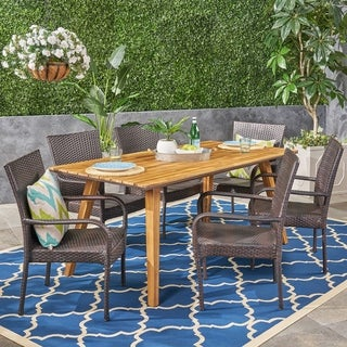 Dalton Outdoor 7 Piece Acacia Wood Dining Set with Stacking Wicker Chairs by Christopher Knight Home