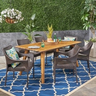 Grove Outdoor 7 Piece Acacia Wood Dining Set with Stacking Wicker Chairs by Christopher Knight Home